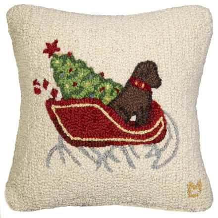 "Chandler 4 Corners Hooked Wool Pillow - 18""x18"" in Chocolate Lab Sleigh Dog - Closeouts"