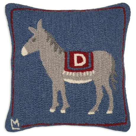 """Chandler 4 Corners Hooked Wool Pillow - 18""""x18"""" in Democratic Donkey"""
