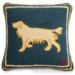 """Chandler 4 Corners Hooked Wool Pillow - 18""""x18"""" in Golden Gertie"""