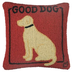 """Chandler 4 Corners Hooked Wool Pillow - 18""""x18"""" in Good Dog Yellow"""