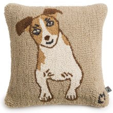 """Chandler 4 Corners Hooked Wool Pillow - 18""""x18"""" in Happy Jack - Closeouts"""