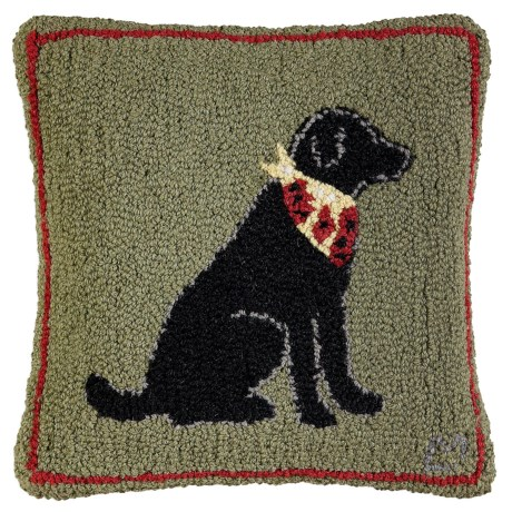 """Chandler 4 Corners Hooked Wool Pillow - 18""""x18"""" in Little Lab Black"""