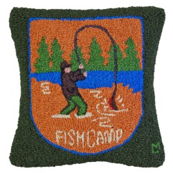 "Chandler 4 Corners Hooked Wool Pillow - 18""x18"" in Orange Fish Camp Patch"