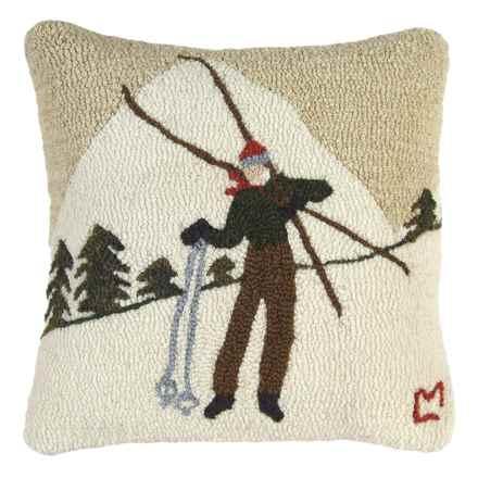"Chandler 4 Corners Hooked Wool Pillow - 18""x18"" in Skiing Break - Closeouts"