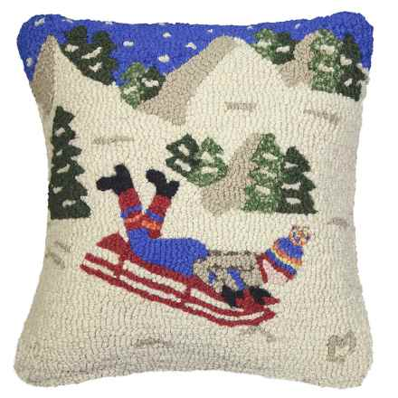 "Chandler 4 Corners Hooked Wool Pillow - 18""x18"" in Sledding Hill - Closeouts"