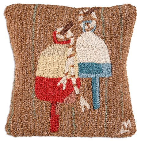 "Chandler 4 Corners Hooked Wool Pillow - 18""x18"" in Two Buoys"