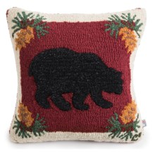 "Chandler 4 Corners Hooked Wool Pillow - 18""x18"" in Wild Bear Red - Closeouts"