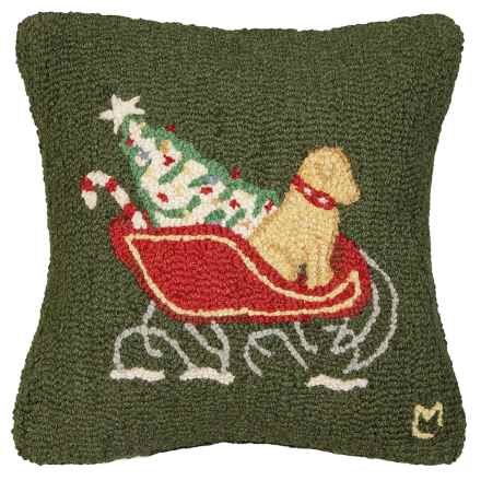 "Chandler 4 Corners Hooked Wool Pillow - 18""x18"" in Yellow Lab Sleigh Dog On Green - Closeouts"