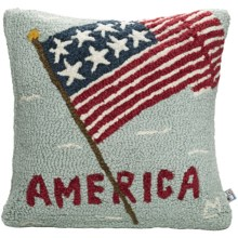 "Chandler 4 Corners Hooked Wool Pillow - 18x18"" in American Flag - Closeouts"