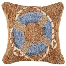 "Chandler 4 Corners Hooked Wool Pillow - 18x18"" in Blue Life Ring - Closeouts"