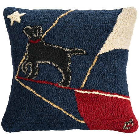 "Chandler 4 Corners Hooked Wool Pillow - 18x18"" in Bow Wow Rider Sloop"