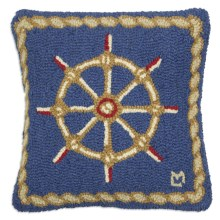 "Chandler 4 Corners Hooked Wool Pillow - 18x18"" in Captains Wheel - Closeouts"