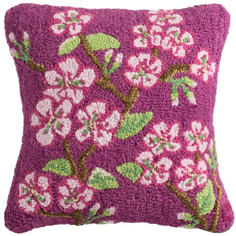 "Chandler 4 Corners Hooked Wool Pillow - 18x18"" in Cherry Blossom"
