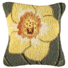 "Chandler 4 Corners Hooked Wool Pillow - 18x18"" in Daffodil - Closeouts"