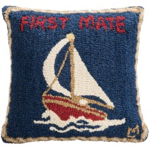 "Chandler 4 Corners Hooked Wool Pillow - 18x18"" in First Mate - Closeouts"