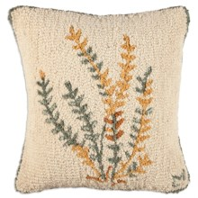 "Chandler 4 Corners Hooked Wool Pillow - 18x18"" in Golden Fern - Closeouts"