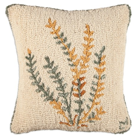 "Chandler 4 Corners Hooked Wool Pillow - 18x18"" in Golden Fern"