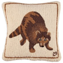 "Chandler 4 Corners Hooked Wool Pillow - 18x18"" in Raccoon - Closeouts"