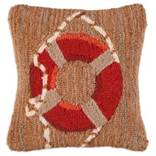 "Chandler 4 Corners Hooked Wool Pillow - 18x18"" in Red Life Ring - Closeouts"
