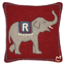 "Chandler 4 Corners Hooked Wool Pillow - 18x18"" in Republican Elephant - Closeouts"