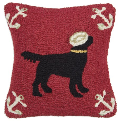 """Chandler 4 Corners Hooked Wool Pillow - 18x18"""" in Salty Dog Black"""