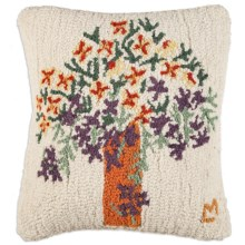 "Chandler 4 Corners Hooked Wool Pillow - 18x18"" in Summer Bouquet - Closeouts"