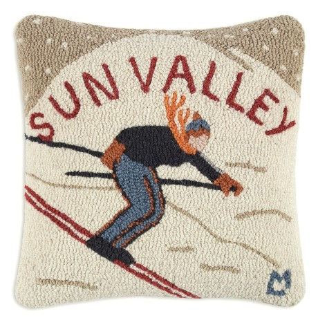 "Chandler 4 Corners Hooked Wool Pillow - 18x18"" in Sun Valley"