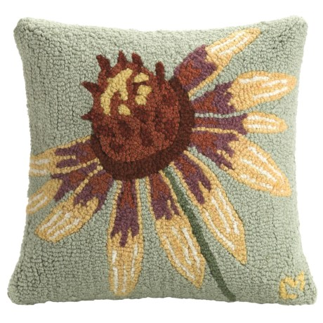 "Chandler 4 Corners Hooked Wool Pillow - 18x18"" in Yellow Daisy"