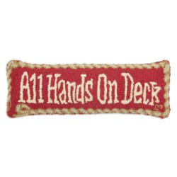 "Chandler 4 Corners Hooked Wool Pillow - 8x24"" in All Hands On Deck"