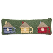"Chandler 4 Corners Hooked Wool Pillow - 8x24"" in Cabins For Rent - Closeouts"