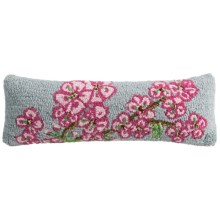 "Chandler 4 Corners Hooked Wool Pillow - 8x24"" in Cherry Blossom - Closeouts"