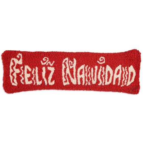 """Chandler 4 Corners Hooked Wool Pillow - 8x24"""" in Feliz Navidad"""