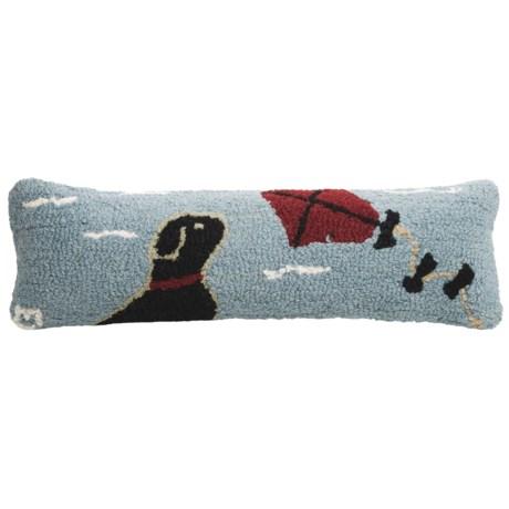 """Chandler 4 Corners Hooked Wool Pillow - 8x24"""" in Joy Joy Joy"""