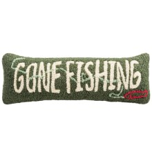 "Chandler 4 Corners Hooked Wool Pillow - 8x24"" in Gone Fishing - Closeouts"
