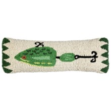 "Chandler 4 Corners Hooked Wool Pillow - 8x24"" in Green Lure - Closeouts"