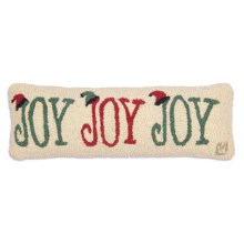 "Chandler 4 Corners Hooked Wool Pillow - 8x24"" in Joy Joy Joy - Closeouts"