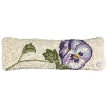 "Chandler 4 Corners Hooked Wool Pillow - 8x24"" in Pansy - Closeouts"