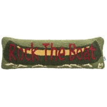 "Chandler 4 Corners Hooked Wool Pillow - 8x24"" in Rock The Boat - Closeouts"