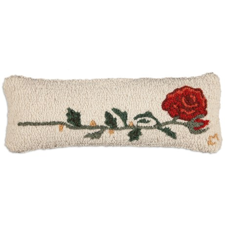 """Chandler 4 Corners Hooked Wool Pillow - 8x24"""" in Rose"""