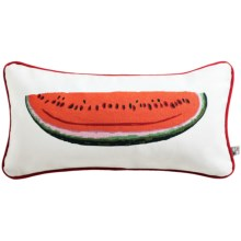 "Chandler 4 Corners Hooked Wool Pillow - 8x24"" in Watermelon - Closeouts"
