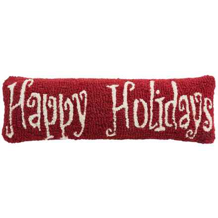"Chandler 4 Corners Hooked Wool Pillow - 8x24"" in Happy Holidays - Closeouts"