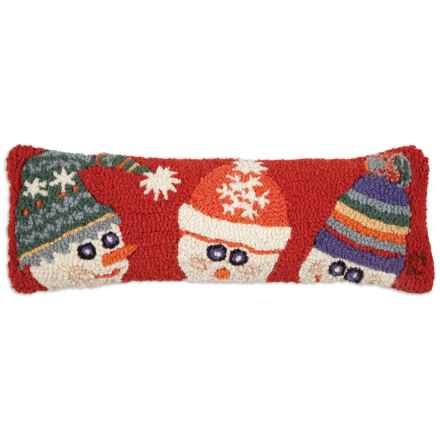 """Chandler 4 Corners Hooked Wool Pillow - 8x24"""" in Snow Hat Family - Closeouts"""