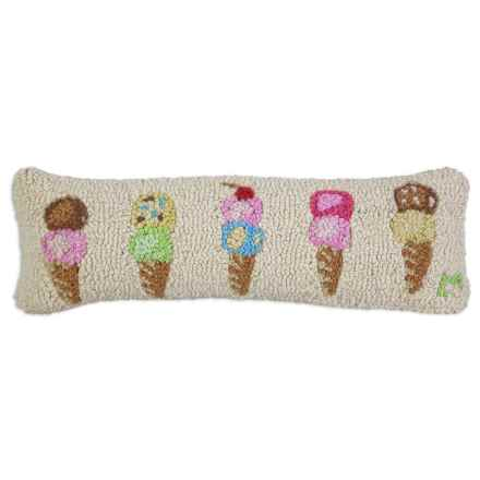 "Chandler 4 Corners Hooked Wool Pillow - 8x24"" in Summer Scoops Ice Cream Cones - Closeouts"