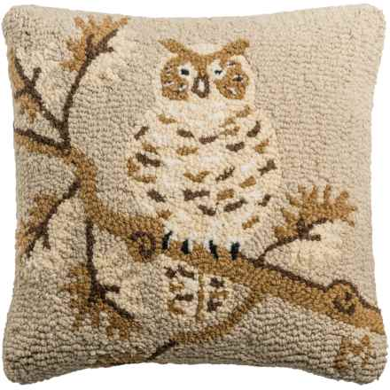 "Chandler 4 Corners Khaki Owl Hand-Hooked Wool Pillow - 18x18"" in Khaki - Closeouts"