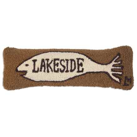 "Chandler 4 Corners Lakeside Fish Sign Hand-Hooked Wool Pillow - 8x24"" in Tan - Closeouts"