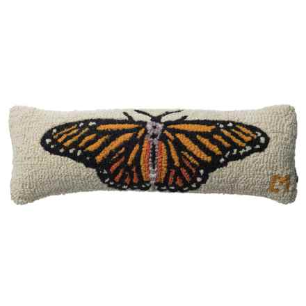 "Chandler 4 Corners Monarch Butterfly Hooked Wool Pillow - 8x24"" in Multi - Closeouts"
