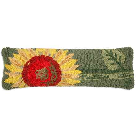 "Chandler 4 Corners Single Sunflower Hand-Hooked Wool Pillow - 8x24"" in Green - Closeouts"