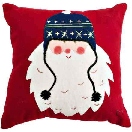 "Chandler 4 Corners Square Wool Applique Pillow - 18x18"" in Santa - Closeouts"