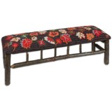 Chandler 4 Corners Twig Bench - Hooked Wool Top