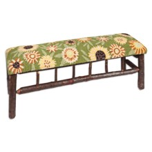 Chandler 4 Corners Twig Bench - Hooked Wool Top in Sunflower - Closeouts